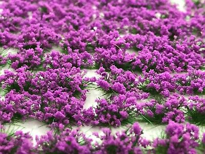 Self-Adhesive Static Grass Tufts Purple Flowers approximately 5mm high