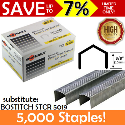 "5000 NEW BOX Spotnails Galvanized Chisel B8 Staples 3/8"" 10mm BOSTITCH STCR5019"