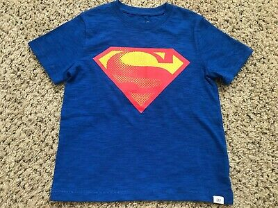 New Cute Toddler Boy S Baby Gap T Shirt Superman Blue Color 100 Cotton Size