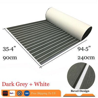 "EVA Boat Decking Sheet Marine Teak Flooring Adhesive Mat 35.4""94.5""Dark Grey"