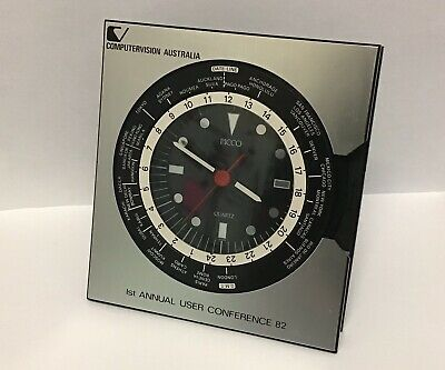 Vintage 1982 Picco Japan World Time Clock Computervision CAD Conference Swag