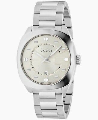 ffa1b2e8525  890 MENS GUCCI WATCH YA142308 GG2570 STAINLESS STEEL 41mm G MOTIF new in  box