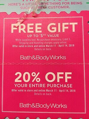 2 Bath & Body Works Coupons Fr*e Gift & 20% Off Entire Order