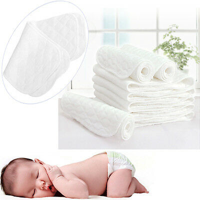 10pcs Reusable Baby Cloth Diaper Nappy Liners Inserts 3 Layers Cotton
