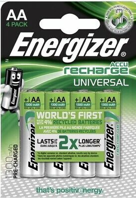 4 x Energizer AA Rechargeable Batteries 1300mAh Pre Charged NiMH HR06 *NEW*