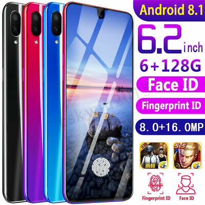 "6.2"" 4G Smartphone Android 8.1 Dual SIM 6+128G Octa Core Face Unlocked 8MP+16MP"