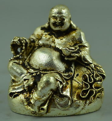 Exquisite Collect Tibet Silver Copper Carve Buddha  Good Lucky Delicate Statue