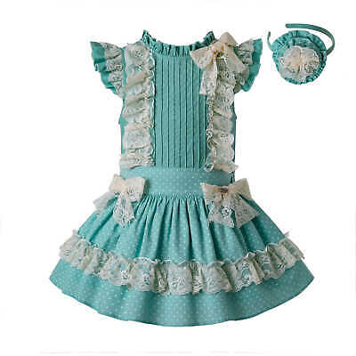 Girl Sundress Spanish Girls Ball Gown Party Dress Green & Cream Lace Skirt Set