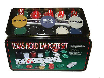 Poker Fiches Set 200 Pezzi Fish Carte Dadi Panno Euro Texas Hold'em Poker Black