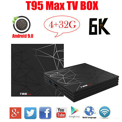 UK 6K T95 Max 4+32G Android 9.0 Quad Core Smart TV Box WIFI BT 3D Media Streamer