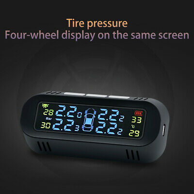 2019 Solar Power Wireless TPMS Tire Pressure Monitor System 4 Build-In Sensors