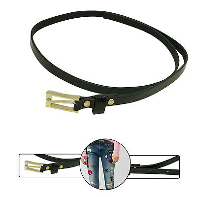 10mm Shiny Black Thin Ladies Waist Belt For Stylish Girls Fashion Denim Trousers