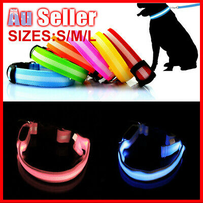 LED Puppy Pet Tag Included 3 Sizes Collar Battery Leash Glow Light Dog Flashing