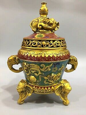 Collection of China's rare pure hand-carved cloisonne incense burner xuande Mark