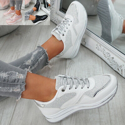 Womens Ladies Lace Up Glitter Trainers Fashion Plimsolls Sneakers Shoes Size