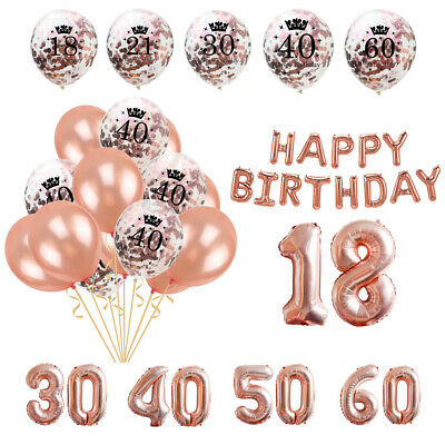 Rose Gold Latex Number Happy Birthday Balloons 18st/21/30/40/50/60 Party Curtain