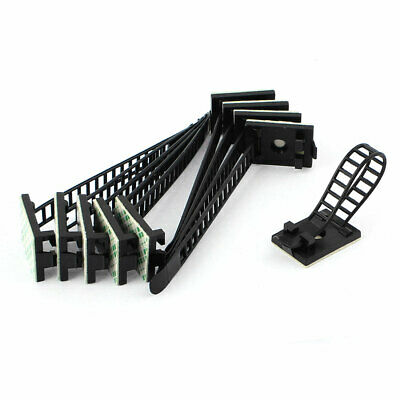 10pcs Self-Adhesive Backed Black Wire Clips Cable Clamp Adjustable Tie Mount