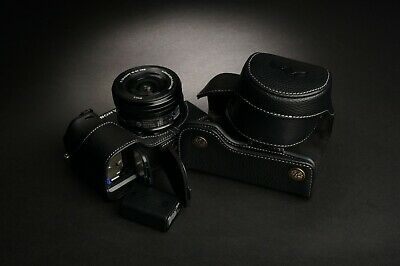 Handmade Genuine real Leather Full Camera Case bag cover for Sony A6000 16-50mm lens Black color