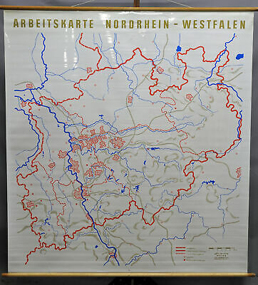 vintage rollable map North Rhine-Westphalia wall chart mural decoration poster