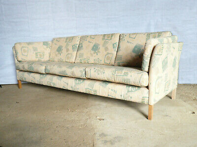 EB347 Danish Patterned Three-Seater Sofa Mid-Century Modern Retro Vintage