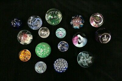 Job Lot 16x Asst GLASS PAPERWEIGHTS inc Millefiore, 3x Caithness, Royal - EHB