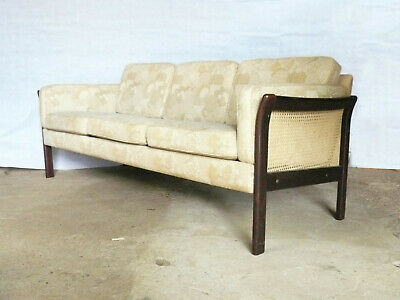 EB348 Danish Patterned Three-Seater Sofa Bergere Sides Mid-Century Modern Retro