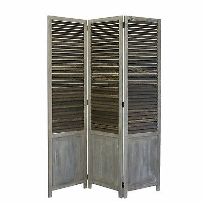 3 fold wood room divider screen partition grey folding screen privacy screen