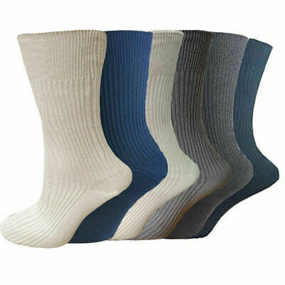 12 Pairs Mens Socks 100% Pure Cotton Socks Comfort  Grip  ribbed cotton SIZE 6-8