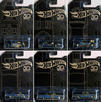 50th Anniversary Black & Oro Set 7 Modellini Di Auto Scala 1:64 HOT WHEELS frn33
