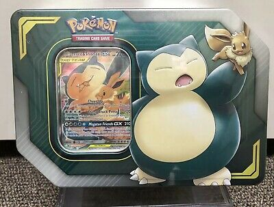 POKEMON SPRING 2019 TAG TEAM TIN ~ EeVee & SNORLAX GX (4 BOOSTERS + CODE)* NEW*