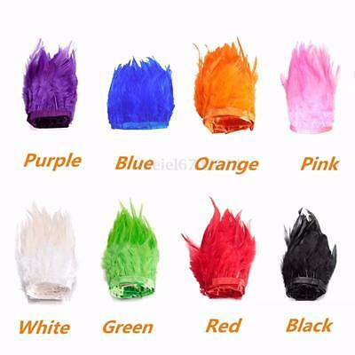 12 Colours ++ Rooster Hackle Coque Feathers Fringe Craft Trim Sewing Costume