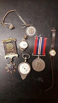 Job Lot Of Antiques And Collectables Medals,timex Watch Silver Items Of...