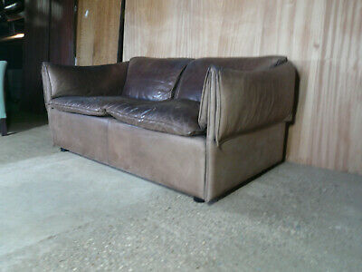 EB308 Danish Brown Leatehr Two -Seater Sofa Vintage Retro Mid-Century Modern