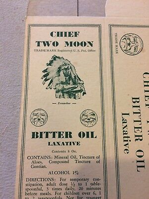 CHIEF TWO MOON BITTER OIL  NEW OLD STOCK BOX WATERBURY CT Quack medical