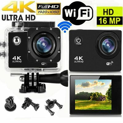 4K Ultra HD Waterproof Camcorder 16MP 170°Wide Angle Lens Wi-Fi Action Camera BH