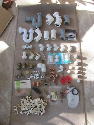 Box of assorted push fit end feed and solder ring plumbing and waste fittings