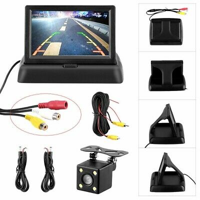 "Wired Reverse Camera + 4.3"" LCD Folded Monitor Screen Car Rear View Waterproof"