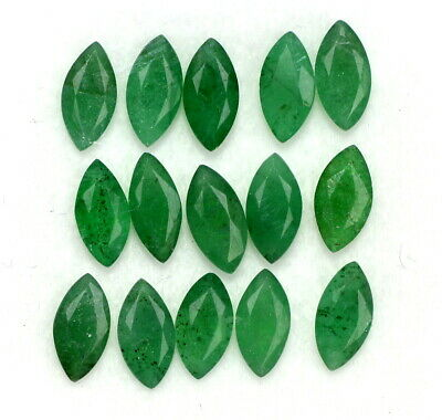 Natural Emerald Marquise Cut 6x3 mm Lot 15 Pcs 3.69 Cts Untreated Loose Gemstone