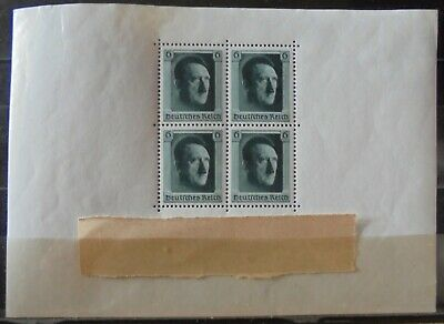 GERMANY Third Reich 1937 Hitlers 48th Birthday Mini Sheet (Perf) MNH
