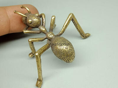 Chinese Antique Rare Collectible Old Copper Handwork Vivid Ants Moving Statue