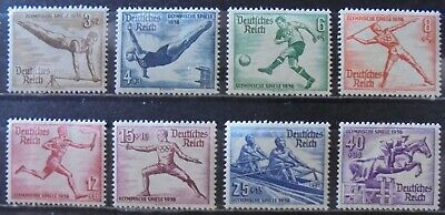 GERMANY Third Reich 1936 Summer Olympic Games, Berlin, Complete Set of 8 m/h