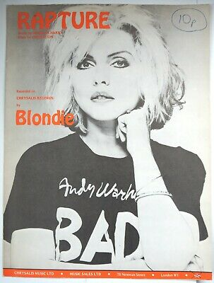 Original BLONDIE DEBBIE HARRY Sheet Music RAPTURE 1980 PUNK