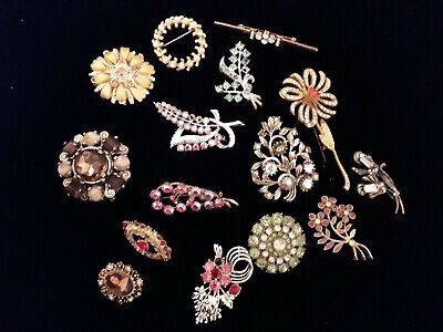 JOB LOT 15 x VINTAGE 1950s & 1960s BROOCHES