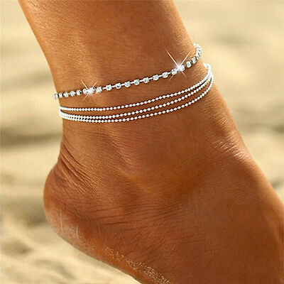 Multilayer Sexy Crystal Anklet Foot Chain Summer Charm Anklet Foot Jewelry OD