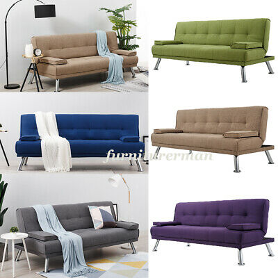 Luxury 3 Seater Click-Clack Fabric Recliner Sofabed Sofa Bed Settee with Cushion
