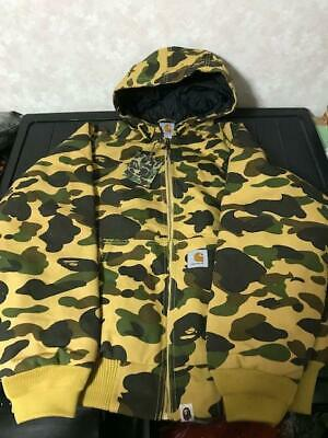 36d0ecbf257e A Bathing Ape Bape x Carhartt Hooded Parka Yellow Camo Size L from Japan