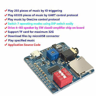 VOICE PLAYBACK MODULE MP3 Music Player Serial Port Control For Arduino ASS