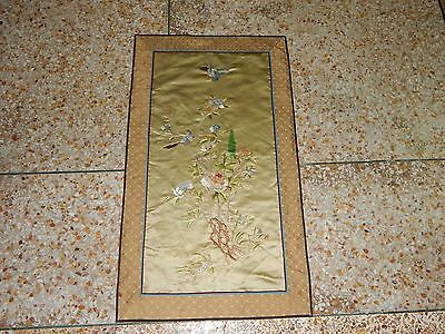Antique Chinese Hand Embroidery Silk Wall Hanging Tapestry/Panel 81X46cm (X198)