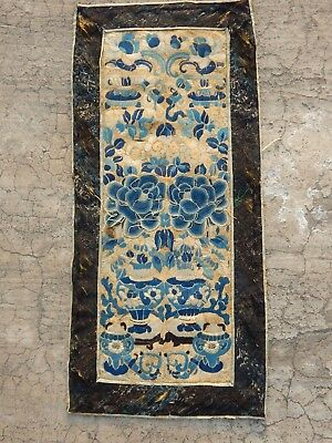 Antique Chinese Seed Hand Embroidery Silk Wall Hanging Panel 56X25cm (X738)