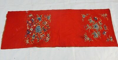 Antique Chinese Hand Embroidery Silk Forbidden Stitch Wall Hanging Panel (X637)
